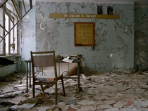 Abandoned classroom in Pripyat Chernobyl Exclusion Zone
