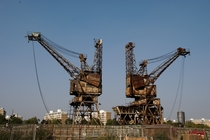 Abandoned coal cranes at Londons Battersea Power Station
