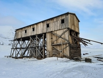 Abandoned Coal tramway station in Hiorthamn Svalbard Norway