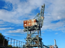 Abandoned coal unloading crane Taconite Harbor Minnesota