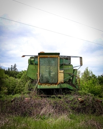 Abandoned combine harvester I spotted in a field