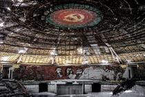 Abandoned Communist Party Headquarters in Bulgaria a concrete saucer perched atop Mount Buzludzha link in comments