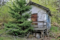 Abandoned cottage in a forest Sweden No trail or road leading to it