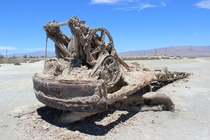 Abandoned crane at Bombay Beach Salton Sea CA photographer unknown