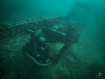 Abandoned crane submerged in a Bethlehem Pennsylvania quarry