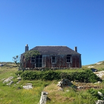 Abandoned croft house Isle of Scalpay near Harris in the Scottish Outer Hebrides  Street View link in comments