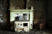 Abandoned crofters cottage stove
