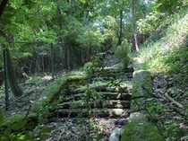 Abandoned cut stone staircase at the Pittsburgh Zoo