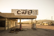 Abandoned diner and gas station in Desert Center California x