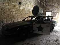 Abandoned dirt oval race car at the Old Joliet Prison Joliet IL