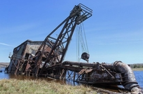 Abandoned Dredge in Upper Michigan - The dredge was used to reclaim previously-milled sand deposited in the lake after it had gone through the stamp mill Instagram stephaniekay