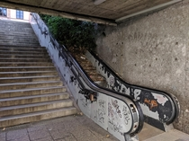 Abandoned escalator in road underpass Munich