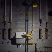 Abandoned Eye-washing Station in a Vacant Powerplant In Yellow Springs Ohio