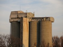 Abandoned factory  warehouse built on the top of the silos Wrocaw Poland