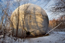 Abandoned Fiberglass Ball about  meters in diameter in The Russian Forest