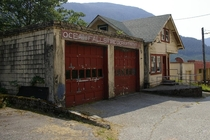 Abandoned Fire department in Ocean Falls BC Canada We took the  hour ferry that sails once a week to stop at these small communities This was a bustling town of  that in its time had the largest hotel in the province Now mostly abandoned with about  resid
