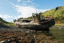 Abandoned fishing vessel on the Isle of Kerrera Scotland