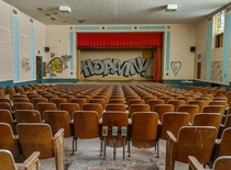 Abandoned for  years this school auditorium is still one of the cleanest I have seen