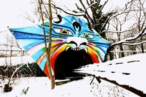 Abandoned funpark under the snow Spreepark-Plnterwald Berlin Germany