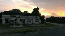 Abandoned gas station at sunset Near Gibsonville NC