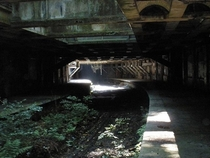 Abandoned Glasgow Central Railway station platforms beneath the Glasgow Botanic Gardens