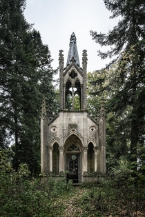 Abandoned gothic revival chapel in France