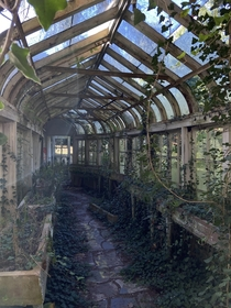 Abandoned greenhouse hallway  Indiana