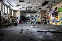 Abandoned gymnasium in an adolescent detention center in New York City