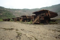 Abandoned Haul Trucks at Bougainville Mine in PNG