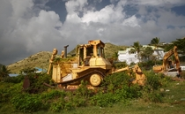 Abandoned heavy machinery in St Martin