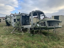 Abandoned helicopters in a MOD training facility Salisbury Plain UK OC