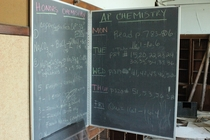 Abandoned High School in Detroit Week Schedule Still on Chalkboard