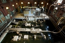 Abandoned historic water works from the top of -story pumping engine that dates to