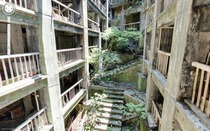 Abandoned homes on Hashima Island Japan taken by Google Street View Explore for yourself instructions in comments