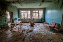 Abandoned hospital waiting room Prypyat Ukraine