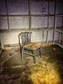 Abandoned hotel in Kentucky Supply closet with only a single chair