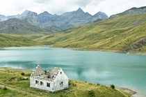 Abandoned House at the Embalse de Escarra Pyrenees Spain