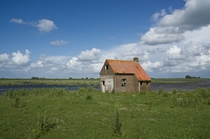 Abandoned house on the Dutch river island Tiengemeten