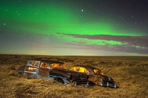 Abandoned Hudson Hornet and Pontiac Chieftain in a Saskatchewan Field