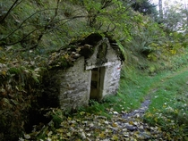 Abandoned hut for cheese makingseasoning Monteviasconorthern italy