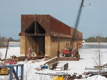Abandoned iron ore dock being dismantled Superior Wisconsin