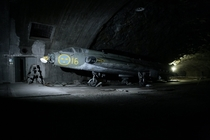 Abandoned JB fighter jet in underground hangar in Sweden