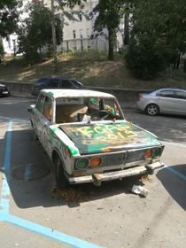 Abandoned Lada in the middle of Kiev