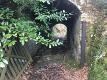 Abandoned livestock tunnel that runs under a country lane Note the grooves in the bedrock worn by iron-tyred cartwheels