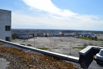 Abandoned mall shot from the roof of the abandoned hotel next door