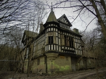 Abandoned manor house at the Shining Cliffs Derbyshire England