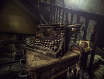Abandoned manor house typewriter
