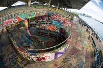 Abandoned Marine Stadium covered in Graffiti Miami Florida
