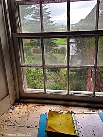 Abandoned medical log in a room with a view Sweet Springs Sanitarium in Monroe County WV