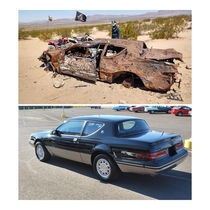 Abandoned  Mercury Cougar in the California desert with lots of bullet holes The photog is unknown I the below picture is what it may have looked like once